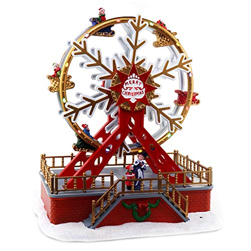 Christmas Ferris Wheel | Animated Pre-lit Musical Christmas Village| Perfect addition to your Carnival Christmas Decorations & Snow Village Displays 11 in