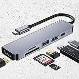 Adattatore USB C. 4K HUB HUB. 6 Porte con 2 Porte da USB 3.0, Lettore di schede SD/TF, con MacBook, MacBook PRO, MateBook 13/14 / X/X PRO, Notebook, galaxybook ECC