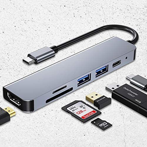 C-Y USB C Adapter 4K HDMI Hub 6 Ports with 2 x USB 3.0 Ports, SD/TF Card Reader, with MacBook, MacBook Pro, MateBook 13/14/x/x pro,NoteBook,Galaxybook etc