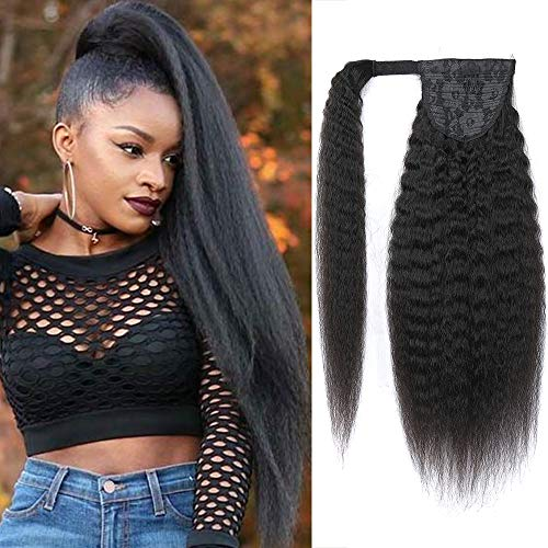 Feelgrace Ponytail Kinky Straight Off Black Human Hair Extensions Clip in Real Hair Clip in Comb Wrap Around Pony Tail Extensions 20 Inch 130 Gram