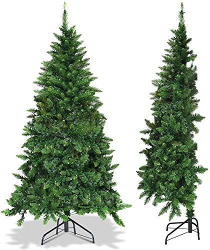 Goplus 5ft Prelit Half-Shape Christmas Tree, Premium PVC Needles Artificial Tree, with LED Lights, Metal Stand, for Xmas Indoor Decoration