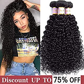 Brazilian Curly Hair 3 Bundles Virgin Kinky Curly Human Hair Weave (12 14 16inch) 100% Unprocessed Hair Weft Extensions Natural Color