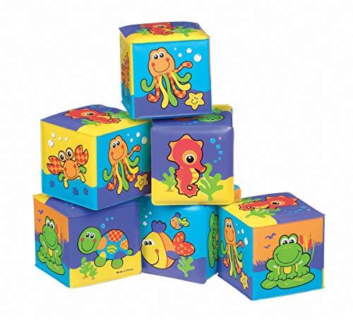 Playgro Cubos Blandos para el Baño, 6 Piezas, Con Animales Multicolores, Desde los 6 Meses, Dimensiones: 7 x 7cm, Rojo/Naranja/Azul/Verde/Lila, 40093