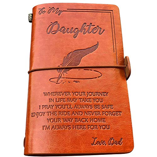 To My Daughter Leather Journal from Dad - Enjoy the Ride and Never Forget the Way Home Notebook - 120 Page Travel Diary Journal Sketch Book Graduation Back to School Gift for Girls