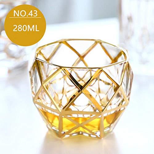 Whisky Vaso Set Creativo Chapado En Oro Whisky Glass Vino Brandy Licor Gold Spirit Cup Charms Vasos De Cristal Bicchiere A Vin Vidro Glasses, No.43
