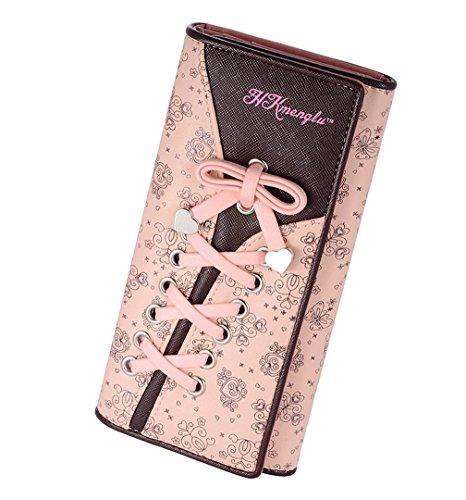 DNFC Geldbörse Damen Blumen Schnürsenkel Schuhband Geldbeutel Leder Elegant Süß Portmonee Brieftasche Lange Schöne Portemonnaie Groß für Frauen (Rosa)