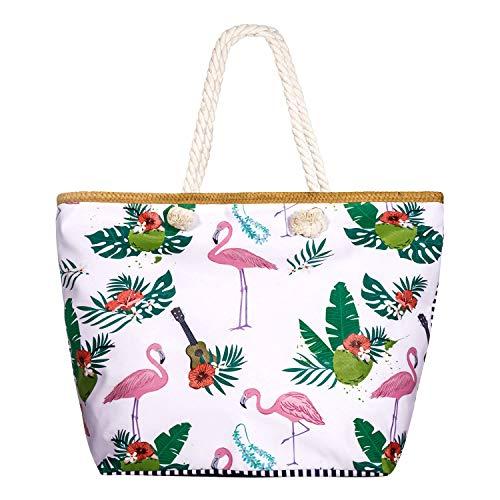 SenPuSi Große Strandtasche mit Reißverschluss Shopper Schultertasche Leinwand Sommer Schwimmbad Damen TascheVerschluss Badetasche Umhängetasche für Reise, Kaufen, Ausflug usw (Flamingo)