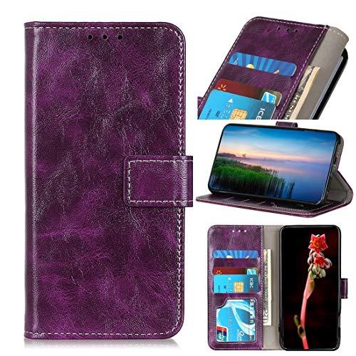 Funda protectora, For el caso de cuero del tirón caballo loco Motorola Moto E6 Plus retro textura horizontal con el sostenedor y ranuras for tarjetas y monedero y marco de fotos ( Color : Purple )