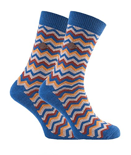 Farah - 2 paar 1920 dikke katoen Zig Zag streep Funky patroon bemanning sokken voor mannen maat 6-11 uk