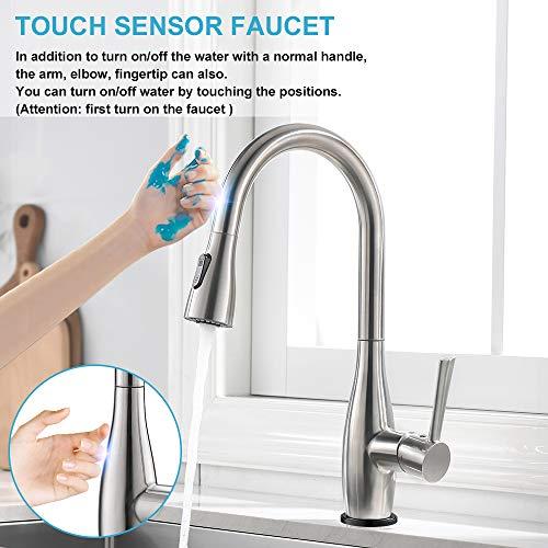 CREA Touch Sensor Armatur Küchenarmatur 360° Drehbar Wasserhahn Küche Armatur Aus Edelstahl Spültischarmatur Mischbatterie Einhand-Spültischbatterie mit Ausziehbarer Dual-Spülbrause