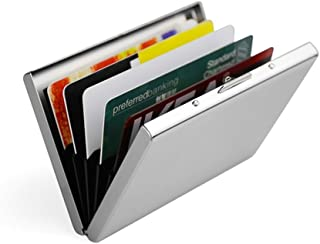 Credit Card Holder RFID Aluminum Business Card Holder Automatic Pop-up Wallet (Sliver)