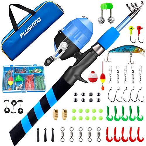 PLUSINNO - Bastone da pesca per bambini, telescopico portatile e mulinello Combo Kit – con mulinello da pesca Spincast per ragazzi, ragazze, giovani…