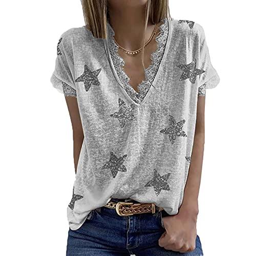 Camiseta de Manga Corta con Costura de Encaje y Estampado de Estrellas de Cinco Puntas con Cuello en V para Mujer