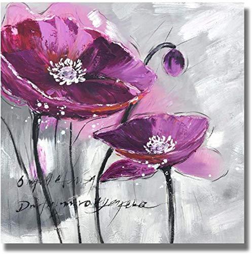 Magníficas imágenes modernas flores abstractas kava pintura violeta carteles e impresiones sala de estar decoración del hogar imágenes de arte de pared 50x50 cm sin marco