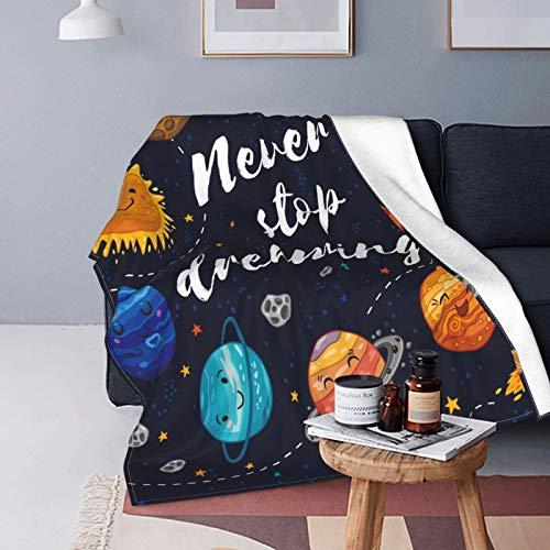 QINCO Suave Micro Lana Manta de Tiro Decor del Hogar,Planetas del Espacio Exterior y cúmulos de Estrellas Sistema Solar Luna y Cometas Sol Cosmos,Ligero Sofá Cama Edredón de Franela,40' x 50'