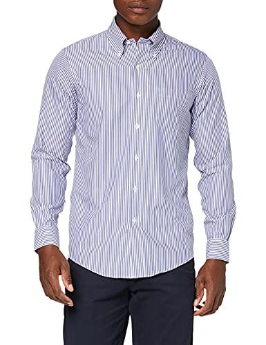 Brooks Brothers Herren Dress Non-Iron Botton Down Milano Bengal Stripe Hemden, Blau (Blue 400), 44 (Hals in. 17 ärmel in. 36)