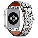 S-Type iWatch Leather Strap Printing Wristbands for Apple Watch 4/3/2/1 Sport Series (38mm) - Music Note Pattern with Doodle Style