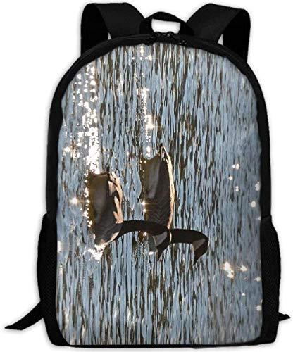Schulrucksack,Tragen Sie jeden Tag Bookbag Adult Reiserucksäcke Laptop Computer Tasche Silhouette Gänse und Rohrkolben Unisex Langlebige Casual Daypack für das Schulgeschäft