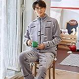 Empty Conjunto de Pijamas de Moda para Hombre, Ropa de Dormir cálida de Invierno para jóvenes, Ropa para el hogar, Ropa de Estar de Manga Larga, Parte Superior e Inferior de Cuerpo entero-2Xl_80-95Kg