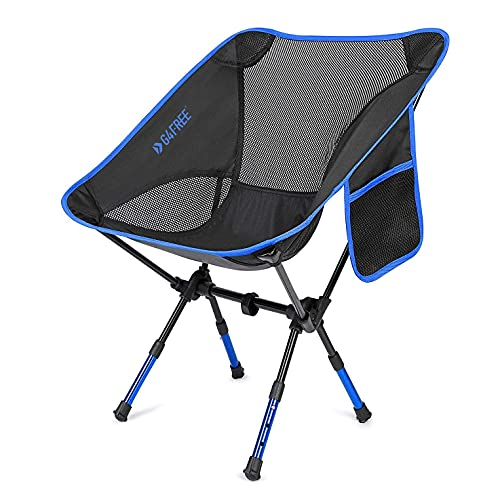 G4Free Ultralight Folding Camping Chair Adjustable Height, Portable Backpacking Chair Heavy Duty 250lbs for Outdoor, Hiking, Picnic, Travel, BBQ with Carry Bag(Dark Blue)