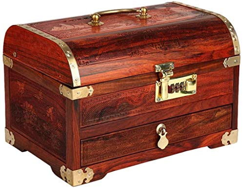 Jewelry Organizer Boxes Gift Jewelry Box Redwood with Password Lock Layering with Drawer High Capacity Wedding Gift Retro Hand Jewelry Storage Box Gift for Women