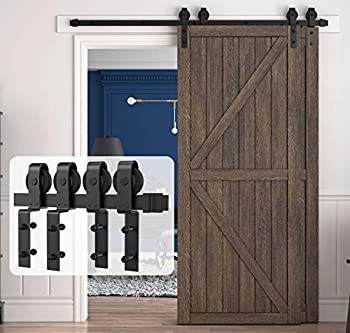 HomLux 6.6ft Bypass Sliding Barn Door Hardware Kit for Double Doors Upgraded Single Track Easy to Install & Reusable Smoothly & Quietly-Fit 1 3/8-1 3/4  Thickness Door Panel Black  J Shape Hanger