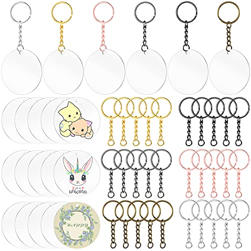60 Piece Acrylic Keychain Blanks Acrylic Clear Keychains Set, Includes 30 Pieces Acrylic Transparent Circle Discs Round Clear Blanks, 30 Pieces Assorted Colors Key Rings for DIY Projects and Crafts