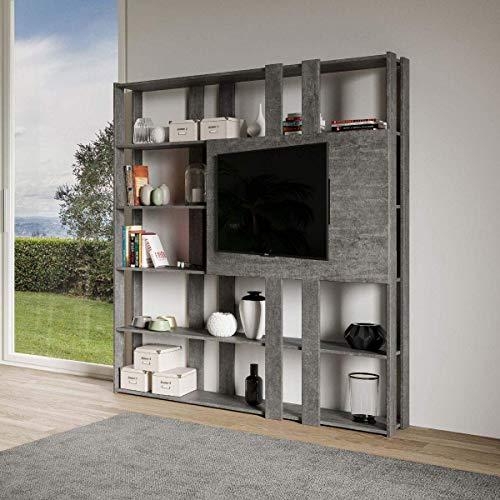 Itamoby, Libreria e Porta TV a Parete in Legno Kato N con 6 Ripiani 5 Scompartimenti Cemento Arredamento Moderno Ufficio Soggiorno Cucina L.178 P. 34 H.204 cm Made in Italy