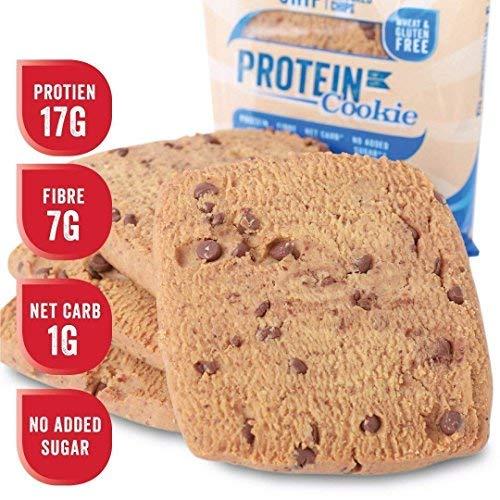 Justine's low carb Cookie mit Schokoladenstückchen | Kohlenhydratarm 17,6g pro 64g (Portionsgröße) | Proteinreich | Ohne Zuckerzusatz | Glutenfrei | Ohne Weizen | 8 x 64g