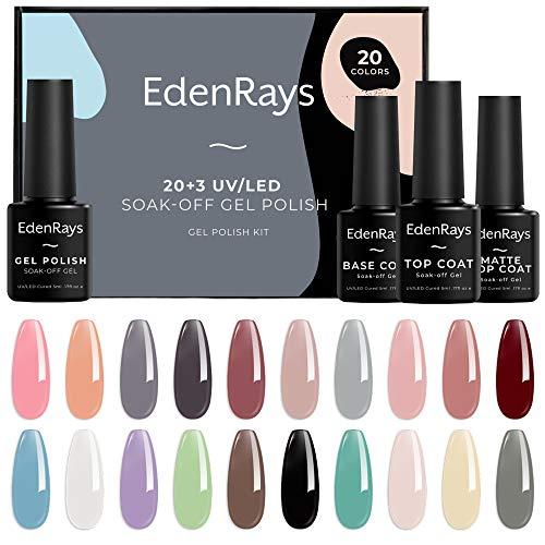 EdenRays 23pcs Gel Nail Polish Set Soak Off UV/LED Gel Starter Kit 20 Vibrant Colors Base Coat Glossy amp Matte Top Coat