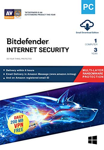 Bitdefender – 1 Computer,3 Years – Internet Security   Windows   Latest Version   Email Delivery in 2 Hours- No CD  