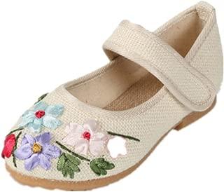 Tianrui Crown Girl's Linen Mary-Jane Shoes Kid's Cute Flat Shoe