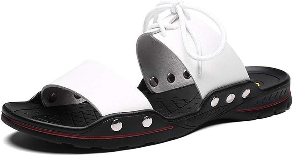 Pieds en Plein air exposés Slip on Set Sandales Pantoufles Word Pantoufles Hommes Tendance Fond Doux Flat plage cuir chaussures Chaussures de Cricket (Couleur   blanc, Taille   39 EU)