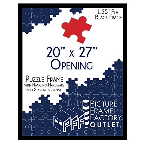 (1) -20x27 - 1.25' Flat Black Profile - Puzzle Frame - Hanging Hardware and Plexiglass Included