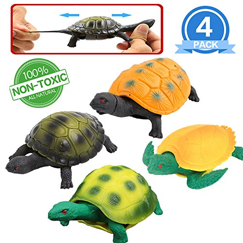 Turtle Toys,5 Inch Rubber Tortoise Turtle Sets(4 Pack),Great Safety Material TPR Super Stretchy,Can Hide in Shell,Zoo World Sea Ocean Animal Bathtub Bath Pool Toy Party Favors Boys Kids