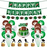 NUOBESTY Sports Football thème Anniversaire fête décoration bannière et Ballons Ensemble gâteau Topper Rugby fête banderoles et Impression Ballons pour décoration 46 pcs