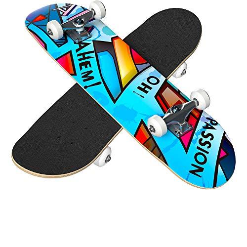 IPOW Amazing Graphic Premium Skateboard 31'x8'Complete Skateboard Standard Double Kick Tricks Skateboard for Adult Teen Kid Beginner 7 Layer Maple Pro/Starter Skateboard for Street/Skate Park
