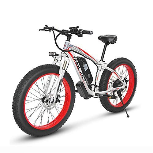 Hyuhome Electric Bikes for Adults Women Men, 4.0' Fat Tires 26 Inch 21 Speed Ladies Mountain Bicycle, 48V 13AH/15AH 350W/500W/1000W MTB E-Bike with IP54 Waterproof,white red,1000W13AH