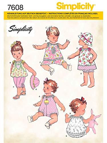 Simplicity Schnittmuster 7608 A Baby Kombination & Hut Gr. XXS - L