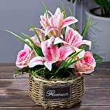 MJFloria Artificial Flowers in Rattan Vase, Fake Silk Flowers Arrangement, Pink Faux Lily Flowers in Basket for Indoor Outdoor Table Home Office Rustic Decoration