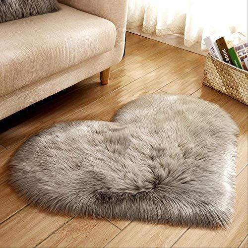 Alfombra de piel de oveja de imitación, alfombras duraderas mullidas en forma de corazón, alfombras cojín del asiento, alfombra de cabecera suave, para sala de estar dormitorio 30 x 40 cm gris