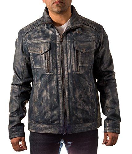 Hombre del azul de la vendimia del motorista Envejecido chaqueta de cuero suave con efecto Rub