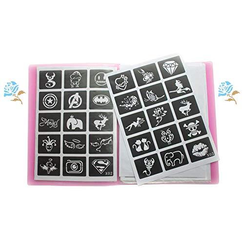Xmasir 20 Blatt (446 pcs) Airbrush Tattoo Schablonenset mit Fotoalbum Art Book, kleine Glitzer Tattoo Vorlage für Körperbemalung, Tattoo Liefert