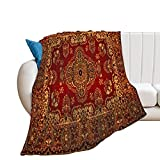 Extra Soft Breathable Flannel Throw Blankets,Red Gold Persian Carpet Pattern Cozy Luxury Anti-Pilling Multi-Size Blanket for Bed Couch Sofa Chair Dorm Living Room Bedroom ,50'×60'