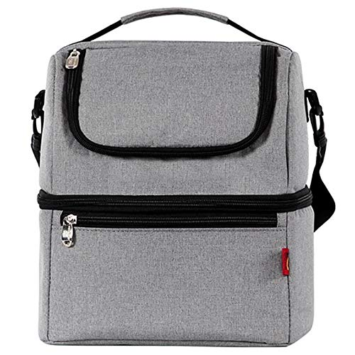 Yi-xir fashion design Unproblematic And Stylish Thermo Lunch Bags Thermic Lunch Box For Kids Food Bag Picnic Bag Handbag Cooler Insulated Lunch Box Lightweight and durable (Color : Grey, Size : A)