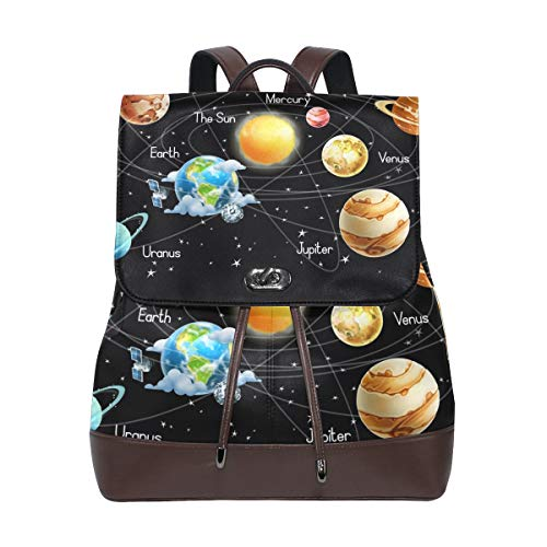 Sac à Dos en Cuir PU Art Sky Univers Galaxy Système Solaire Cordon pour Voyage Sac à Dos Daypack Casual Duffel Sac à bandoulière