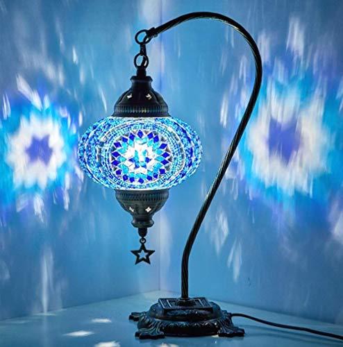 SkyHY224 Lámpara de escritorio Lámparas de mesa, pantallas, lámparas de mosaico árabes, linternas marroquíes, candelabros, lámparas turcas, candelabros, lámparas de mosaico, lámparas de pie (color:azu