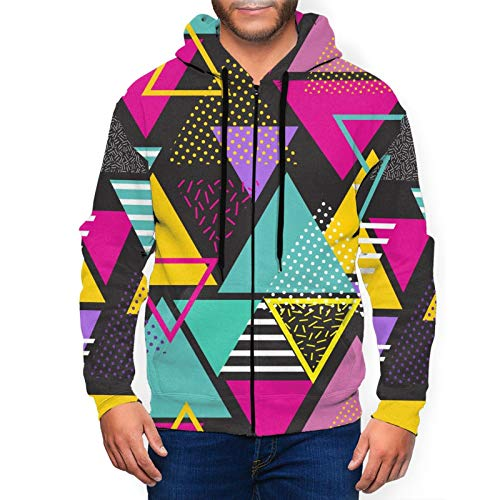 Colorful 80s Triangles Hoodie for Men