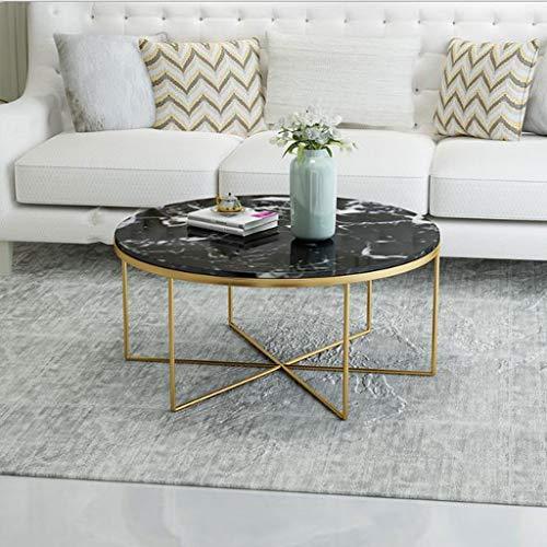 Lyn Bijzettafel, ronde thee-salontafel van smeedijzer-marmeren plaat, woonkamer-tafeltje, eetkamer-tafeltje