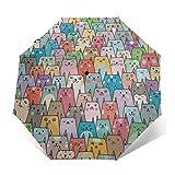 N\ A Compact Umbrella Cute Colorful Cat Kitten Auto Open Close Travel Sun Golf Folding Umbrellas Windproof Lightweight for Women Men Kids Girls Parasol with Black Anti-Uv Coating